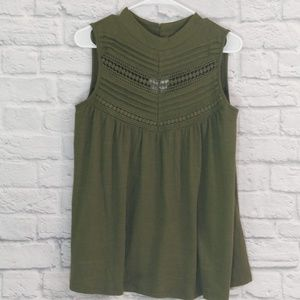 Cable & Gauage | Olive Green Sleeveless High Neck